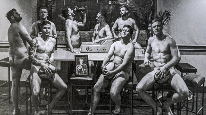 Naked rugby calendar fundraising for Meningitis Now