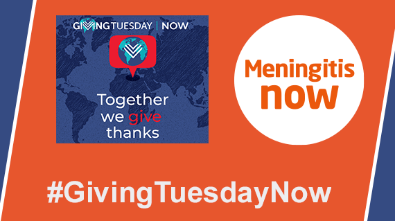 #GivingTuesdayNow logo - Meningitis Now fundraising