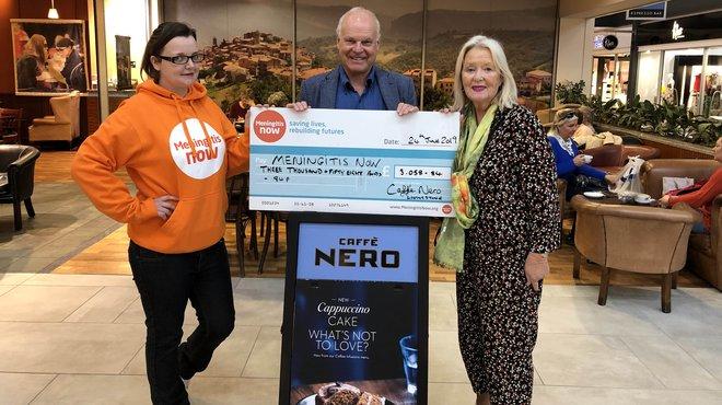 Ashley and Caffe Nero fundraise for Meningitis Now