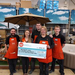 B&Q fundraising cheque presentation for Meningitis Now