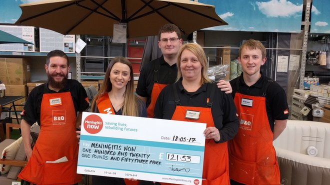 B&Q fundraising cheque presentation for Meningitis Now