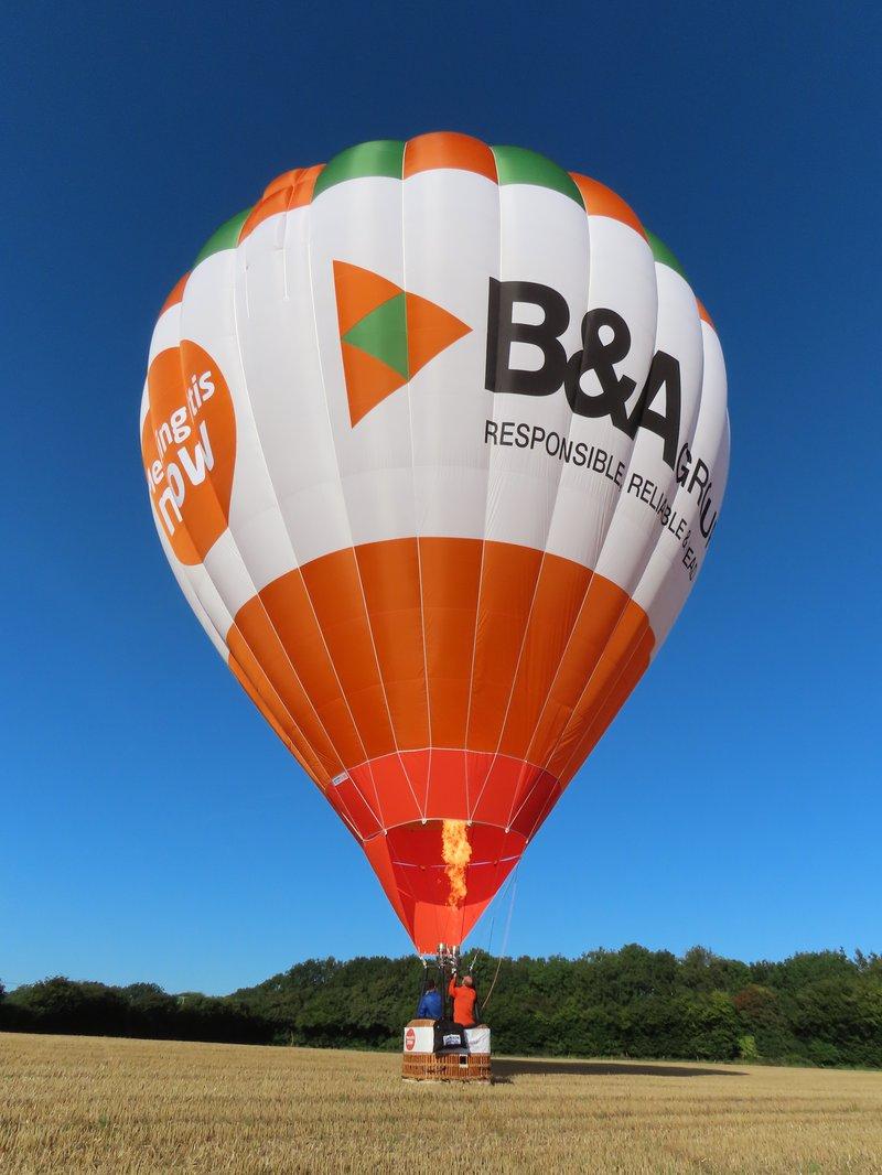 Meningitis Now corporate partner B&A Group launch branded awareness balloon