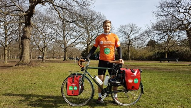 Charles cycling fundraiser for Meningitis Now