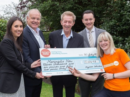Meningitis Now fundraising - cheque presentation