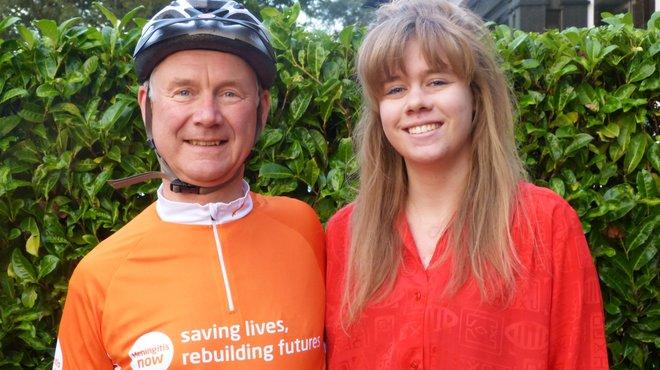 Meningitis Now supporter Clive with daughter and meningitis survivor Charlotte Stuart
