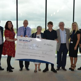 Meningitis Now corporate partner DP World cheque presentation