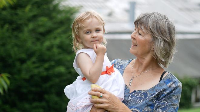 Meningitis Now founder Jane Wells with Daisy