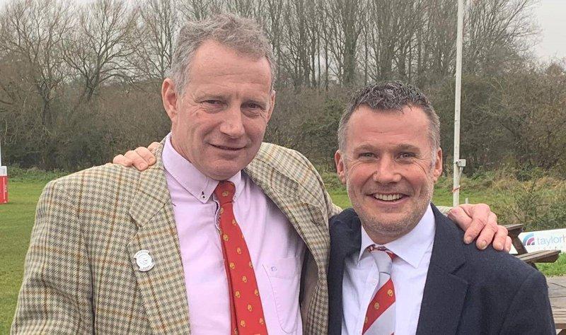 Fundraiser Duncan and Meningitis Now Trustee Rod Adlington at Wasps rugby fundraiser