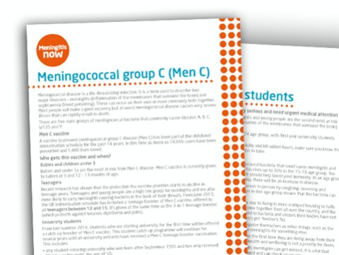 Meningitis awareness fact sheets