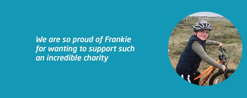 Frankie pedals for pounds for Meningitis Now