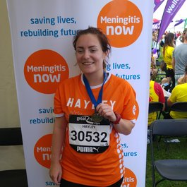 Hayley fundraising for Meningitis Now with Great North Run