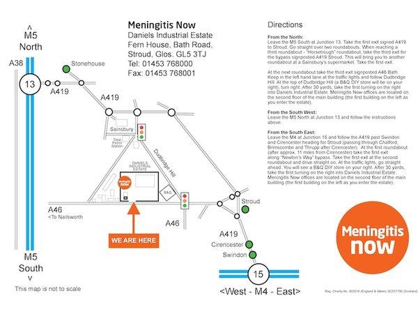 Meningitis Now Head Office map