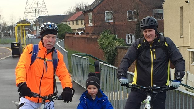 Kevin cycling fundraiser for Meningitis Now