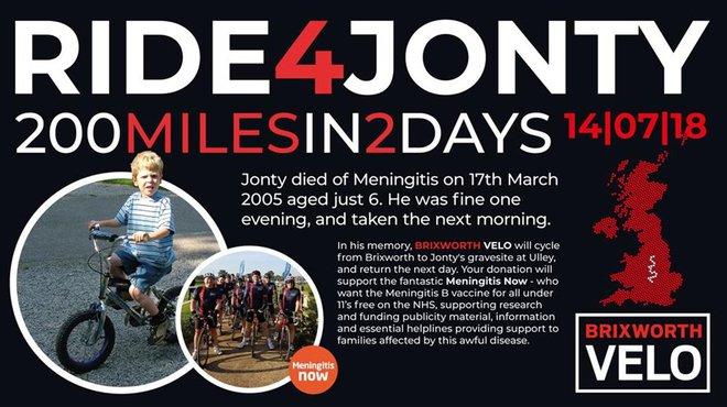 Ride for Jonty to raise money for Meningitis Now