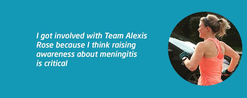 Kim Lo running for Meningitis Now with Team Alexis Rose
