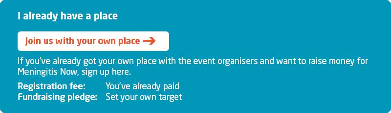 Meningitis Now fundraising event - London Marathon 2022 Sign Up graphic - Own place