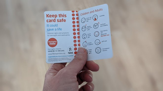 Meningitis Now signs and symptoms card