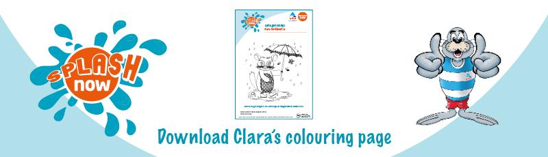 Splash Now download link graphic - Clara colouring
