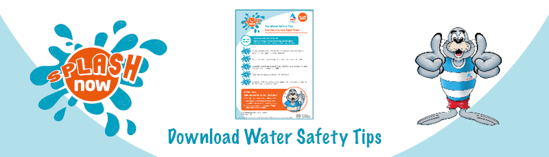 Meningitis Now fundraising event - Splash Now download link graphic - Water Safety Tips