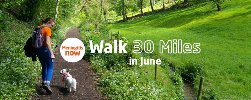 Meningitis Now fundraising event - Walk 30 Miles in June Facebook Challenge - Thank You LB