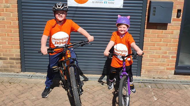 Frankie pedals for pounds for Meningitis Now