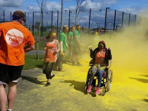 Meningitis survivor Keeley Whitehead Colour Run