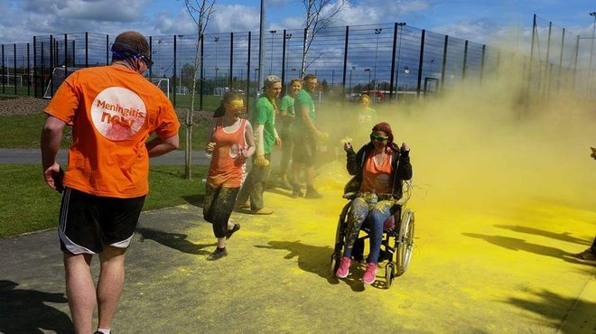 Meningitis survivor Keeley Whitehead Colour Run