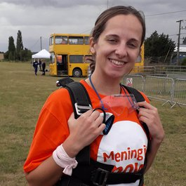 Fenella fundraising skydive for Meningitis Now